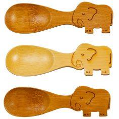 Lot de 3 cuillères bébé en bambou Elephant