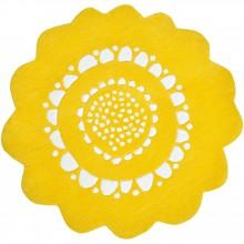 Tapis coton fleur jaune Secret garden by Susan Driscoll (diamètre 80 cm)  par Lilipinso