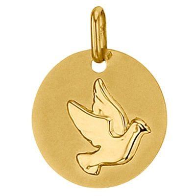 Médaille ronde Colombe 16 mm (or jaune 750°)  par Premiers Bijoux