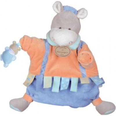 Doudou marionnette étiquette âne (23 cm) Doudou et Compagnie