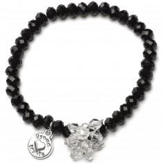 Bracelet Charm perles noires charm bouquet de perles