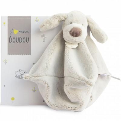 Doudou plat chien beige (25 cm) Doudou et Compagnie