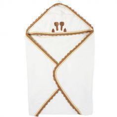 Cape de bain + gant Jersey crochet écru (80 x 80 cm)