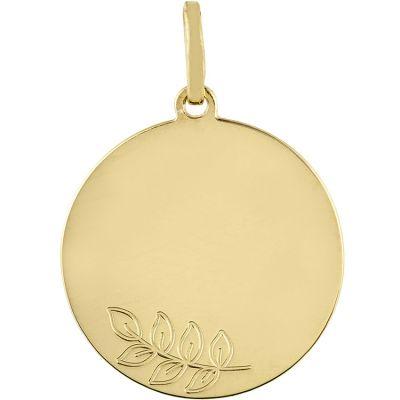 Médaille ronde Branche de laurier (or jaune 750°)  par Berceau magique bijoux