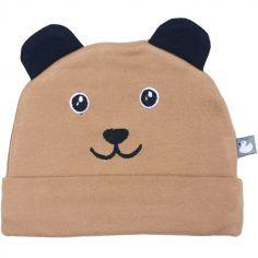 Bonnet de naissance en coton Petit ourson camel