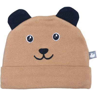 Bonnet de naissance en coton Petit ourson camel  par BB & Co