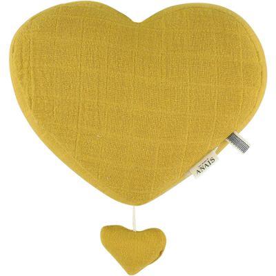 Coeur musical à suspendre Bliss jaune moutarde  par Les Rêves d'Anaïs