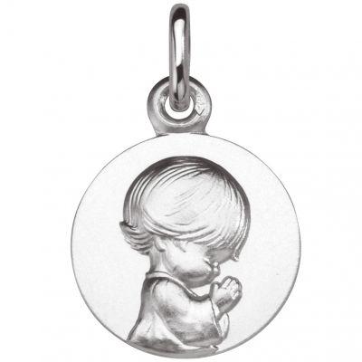Médaille Ange agenouillé Les Loupiots 14 mm (or blanc 750°)  par A.Augis