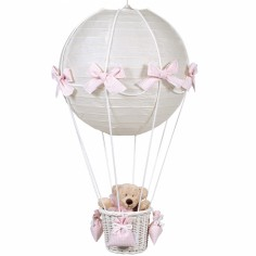 Lampe montgolfière vichy rose