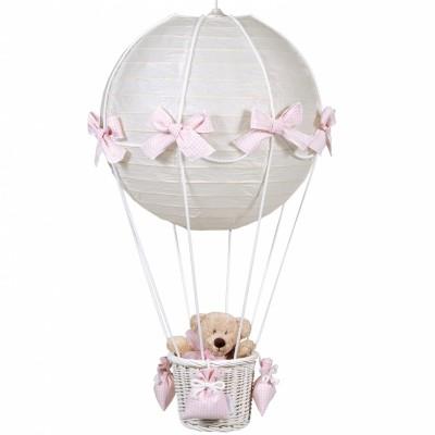 Lampe montgolfière vichy rose  par Pasito a pasito