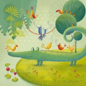 Tableau Ambiance Tropicale by Leïla Brient Croco & Friends (50 x 50 cm) - Lilipinso