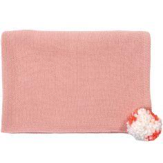 Couverture enfant tricotée Pompom rose (100 x 75 cm)