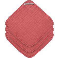 Lot de 3 débarbouillettes en mousseline de coton bois de rose (30 x 30 cm)
