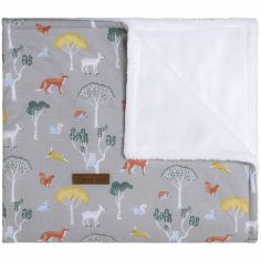 Couverture bébé doublée teddy Forest grise (70 x 95 cm)