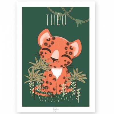 Affiche A3 Les Animignons le léopard (personnalisable)  par Kanzilue