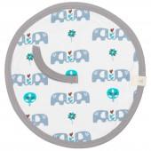 Doudou attache-sucette éléphant bleu - Fresk