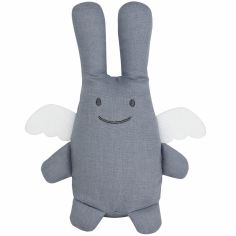 Peluche en lin ange lapin bleu gris et pochette de rangement en coton (20 cm)