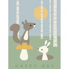 Affiche écureuil et lapin Happy day (40 x 30 cm)  par Franck & Fischer
