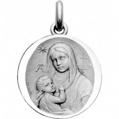 Médaille Vierge Catacombes (or blanc 750°)