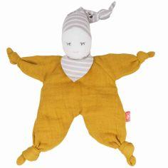 Doudou poupée moutarde