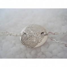 Bracelet empreinte pastille 2 trous ronds sur double chaîne 18 cm (or blanc 750°)