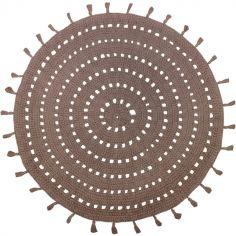 Tapis lavable rond Nila noisette (120 cm)