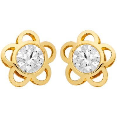 Boucles d'oreilles Fleur ajourée et Oxyde de Zirconium serti clos (or jaune 750°)  par Berceau magique bijoux