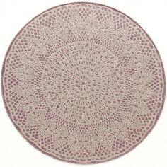 Tapis rond Crochet rose (135 cm)