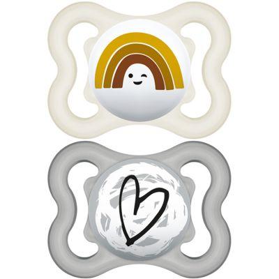 Lot de 2 sucettes anatomiques Suprême arc-en-ciel et coeur en silicone (2-6 mois)  par MAM