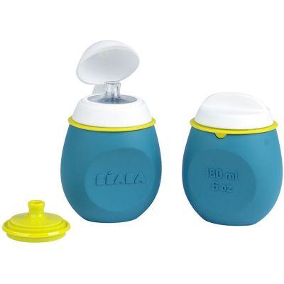 Lot gourde 2 en 1 et pot de conservation Babysqueez bleu  par Béaba