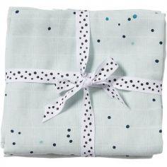 Lot de 2 langes Dreamy dots bleu (70 x 70 cm)