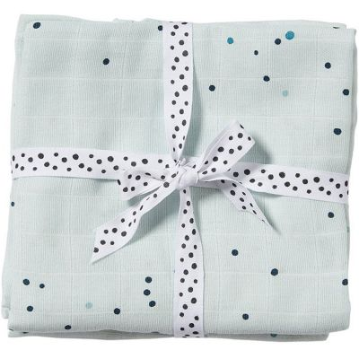 Lot de 2 langes Dreamy dots bleu (70 x 70 cm)  par Done by Deer