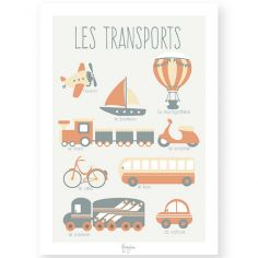 Affiche éducative A3 Les Transports orange
