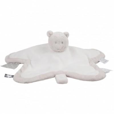 Doudou plat ours Nouky Tidou blanc Poudre d'étoiles (34 cm) Noukie's