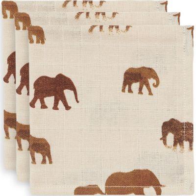Lot de 3 mini langes hydrophiles Savannah éléphant (31 x 31 cm)