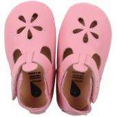 Chaussons bébé en cuir Soft soles Fleur roses (3-9 mois) - Bobux