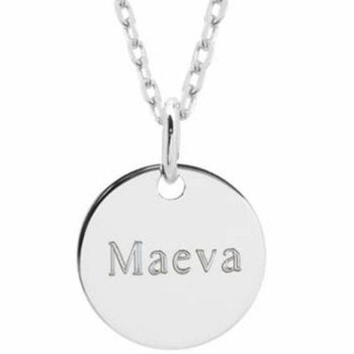 Collier maman Petite médaille personnalisable (argent 925°)  par Petits trésors
