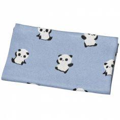 Couverture en coton bleue panda Chao Chao (80 x 100 cm)