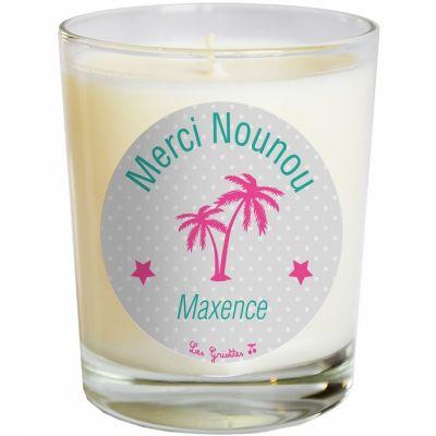 Bougie artisanale Merci maîtresse ou Merci Nounou gris palmier (personnalisable)  par Les Griottes
