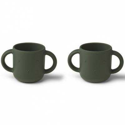 Lot de 2 tasses à anses en silicone Gene Lapin hunter green Liewood