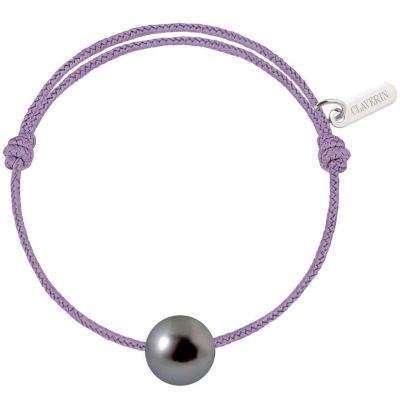 Bracelet bébé Baby Pearly cordon lavande perle de Tahiti 7mm (or blanc 750°)  par Claverin