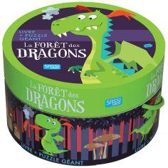 Livre et puzzle géant La forêt des dragons