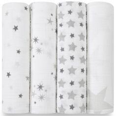 Lot de 4 maxi langes Swaddle étoiles grises Twinkle