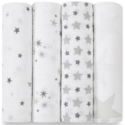 Lot de 4 maxi langes Swaddle étoiles grises Twinkle  par aden + anais