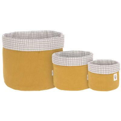 Lot de 3 paniers de toilette en mousseline moutarde  par Lässig