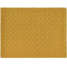 Couverture tricotée en dentelle jaune Ceylon (75 x 100 cm)