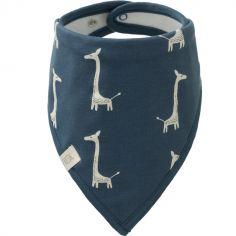 Bavoir bandana Girafe indigo blue en coton bio