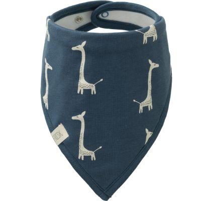 Bavoir bandana Girafe indigo blue en coton bio  par Fresk