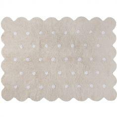 Tapis lavable biscuit beige à pois (120 x 160 cm)