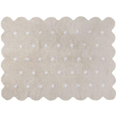 Tapis lavable biscuit beige à pois (120 x 160 cm)  par Lorena Canals